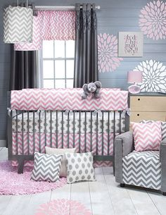 Pink and grey chevron nursery