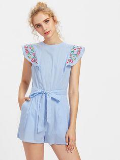 Shop Embroidered Flutter Sleeve Self Belt Romper online. SheIn offers Embroidered Flutter Sleeve Self Belt Romper & more to fit your fashionable needs.