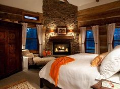 Love This Rustic Master Bedroom Fireplace Home Awesome Bedrooms, Beautiful Bedrooms, House Beautiful, Dream Rooms, Dream Bedroom, Bedroom Fireplace, Fireplace Ideas, Cozy Fireplace, Fireplace Windows