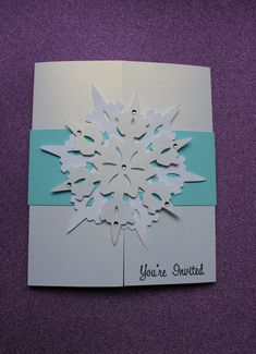 Set of 8 Handmade Frozen Party Invitations white envelopes included Materials: Acid free shimmery card stock, hand stamped and computer