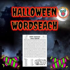 FREEBIE!!! This Halloween Themed Word Search Printable is a fun and educational activity for your students! Instructions: Find the words listed at the bottom of the worksheet. Words can go vertical, horizontal, diagonal, forwards or backwards.Early finishers can color in the pictures.Optional: Make it a competition to see who can find all the words first!