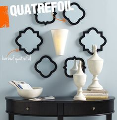 A quatrefoil is an archetype in both art and architecture in which 4 overlapping circles create a graphic symbol. Derived from the Latin word 'quattuor folium,' quatre foil means 'four leaves.'