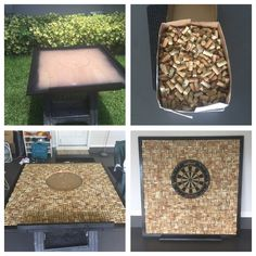 Wine cork backing for Dart board..  4x4 frame, over 1000 corks, construction adhesive and Dart holder..one day job.. i just love it.. now we can enjoy playing darts without ruining the wall..
