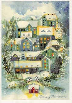 Minna Immonen - Joulu Suomessa, Finland. Retro Christmas, Vintage Christmas Cards, Christmas Images, Vintage Holiday, Christmas Art, Christmas Clipart, Illustrations, Illustration Art, Picture Postcards