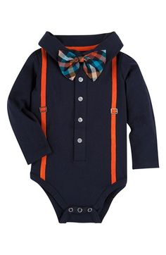 Free shipping and returns on Andy & Evan 'Shirtzie' Polo With Suspenders Bodysuit (Baby Boys) at Nordstrom.com. Three parts adorable, one part easy-to-wear, he'll be the most fashionable baby around in this comfy, stylish bodysuit. A built-in bow tie adds extra flair to an already-spiffy look.