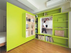 """Green plywood door shelf space ~ From Dwell.   """"Shibata wanted more shelf space in her home office, so she added a plywood door with built-in bookshelves that opens into her bedroom to form a reading nook. Glimpsed from the adjacent room, the space looks larger than it actually is, thanks to the bright green walls."""""""