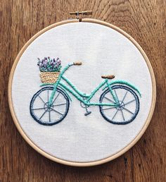 """Items similar to """"Lavender Bicycle"""" embroidery hoop on Etsy - Nahen Floral Embroidery Patterns, Hand Embroidery Videos, Embroidery Stitches Tutorial, Embroidery On Clothes, Creative Embroidery, Simple Embroidery, Hand Embroidery Stitches, Modern Embroidery, Embroidery Hoop Art"""