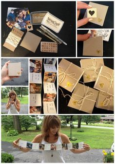 """On the blog: a creative way to ask, """"will you be my bridesmaid?""""  Homemade accordion albums with personalized photos and customized rubber stamped message inside. A fun way to """"pop the question""""!"""