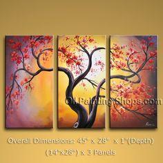 "Tri Panel Canvas Wall Art Contemporary Blossom Tree 45"" x 28"" #2821"