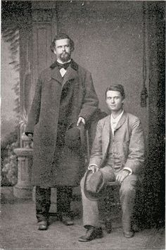 In fact Ludwig II went on to have a succession of handsome male companions, two of whom were Hungarian theater star Josef Kainz and courtier Alfons Weber. They were both good-looking young men, and Ludwig treated them as other royal males treated their mistresses.   They even had their photo taken together  although it is scandalous that in this portrait Kainz is seated, and the king is standing . Very revealing.