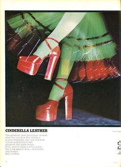 biba 70s shoes heels pumps platforms fashion ad color photo print ad model magazine designer red disco studio 54 dance club