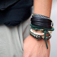 Triple Wrap Leather Wrap Bracelet