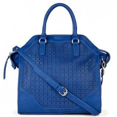 Women's Cobalt Vegan Leather Lasercut Tote | Iris by Sole Society