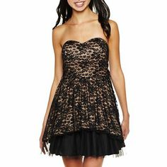 B.Wear® Lace Strapless Party Dress - jcpenney