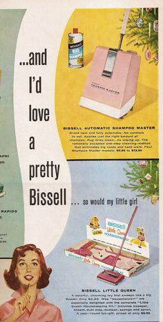 A popular vacuum choice for homemakers in the 1960s was this My Little Queen carpet sweeper, and related items, from Bissell.