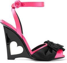 Prada - Bow-embellished Satin Wedge Sandals - Pink http://shopstyle.it/l/cmvc