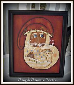 Primitive Folk Art Santa Canvas Framed Home Decor by Primgal