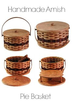 Beautiful Amish Pie basket, perfect for carrying your homemade pies to your potluck on Thanksgiving Day! Makes for a great hostess gift too! Present your pie to your host allow gift them the basket. Homemade Pies, Thanksgiving Pies, Kitchen Must Haves, Gifts For Cooks, All Things Christmas, Christmas Gifts, Chocolate Cream, Cobbler, Amish