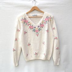 Embroidered Vintage Sweater - White Jumper with Floral Embroidery