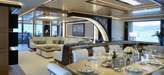 M/Y Galactica Super Nova by Heesen Yachts Interiors by Sinot Exclusive Yacht Design exterior by Espen Oeino Interior Design Guide, Exterior Design, Boating License, Dining Room Images, Small Yachts, Outdoor Cinema, Guest Cabin, Yacht Interior, Yacht Design