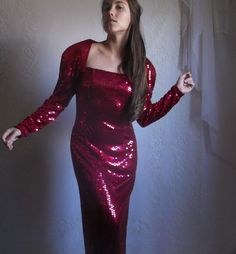 80s Red Sequin Prom Dress // Vintage by DizzyDreamerVintage