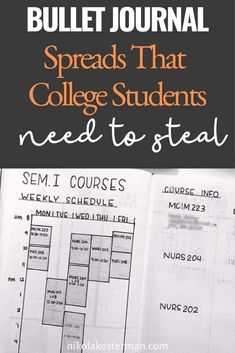 Bullet Journal Spreads that College Students need to steal - 15 COLLEGE BULLET JOURNAL SPREADS AND TRACKERS WILL HELP YOU GET ORGANIZED AND CRUSH IT IN YOUR CLASSES! TAKE SOME STRESS OFF THIS YEAR AND ADD THESE SPREADS TO YOUR BULLET JOURNAL. Bullet Journal For College, Monthly Bullet Journal Layout, Bullet Journal Mood Tracker Ideas, Bullet Journal Travel, Bullet Journal For Beginners, Bullet Journal Quotes, Bullet Journal How To Start A, Bullet Journal Spread, Bullet Journal Ideas Pages
