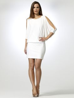 White Slit Sleeve Dress