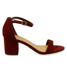 Highlight-06S Burgundy Single Sole Chunky Low Heels