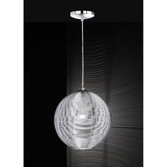 Wofi Modena Single Light Globe Ceiling Pendant in Silver Finish - Wofi from Castlegate Lights UK