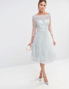 Image 1 ofChi Chi London Midi Tulle Dress In Premium Lace Embroidery