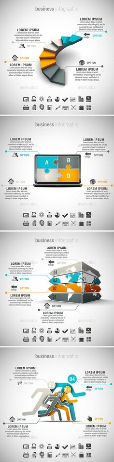 4 in 1 Business Infographics Bundle by grki Vector set of different business infographics. 22 icons inside each file. ZIP includes free font link, AI, PSD and high res Free Infographic, 4 In 1, The 4, Business Infographics, Infographics Design, Strategy Map, Concert Flyer, Data Visualization