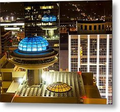 "Sold a 24.00"" x 19.25"" metal print of Yesterday's Future - Classic Atlanta Skyline to a buyer from Atlanta, GA - Aerial View Of The Roof Of The now classic Modern architecture of the Hyatt Regency on Peachtree Street."