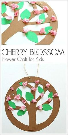 Hanging Spring Tree Blossoms Flower Craft for Kids: Can be adapted to make apple trees, cherry trees, and more! (Directions for both younger and older children) ~ BuggyandBuddy.com