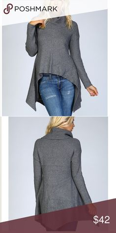 """🍂🆕Cowl Neck Flare Sweater Amazingly gorgeous! Beautiful & Thick material without being too heavy. Charcoal Knit crochet cowl neck pullover sweater•High low design with super flared skirt• Stretchable spandex knit• Eyelet detail along center front• Drop shoulders • 75% acrylic 20% polyester 5% spandex• Model is 5` 10"""" 34B-24-34 and wearing a size Small Sweaters Cowl & Turtlenecks"""