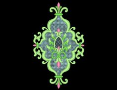 Detailed Beautiful Elegant Lace Embroidery Machine Design Pattern for Bridal Wedding Prom  Stitch as four individual colors or stitch all in one