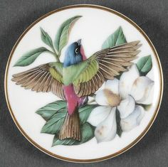 Franklin Mint Miniature Songbirds of The World: Painted Bunting - Beautiful Bird Pieces 3 - Watercolor Illustration, Floral Watercolor, Painted Bunting, Antique Plates, Franklin Mint, China Painting, Vintage Birds, Bird Design, Beautiful Birds