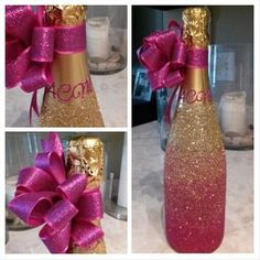 Ombre Glitter Monogrammed Champagne Bottle I made for my Ang's Birthday bottle crafts centerpieces 35 Birthday Gifts & Ideas for Her, Mom, Wife, Husband. Glass Bottle Crafts, Diy Bottle, Bottle Art, Glitter Champagne Bottles, Bling Bottles, Liquor Bottles, Decoration Evenementielle, Diy Party Decorations, Wine Bottle Centerpieces