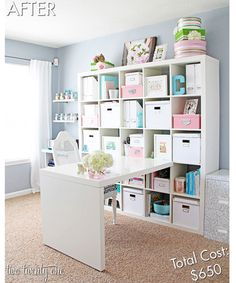 Use bright storage solutions—in a variety of hues—to hide office clutter.