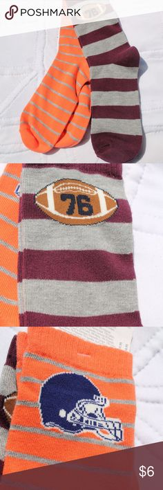 Gymboree Boys Socks Football 2 Pairs Size Large Brand:  Gymboree   Item:  Boys sock set of 2 pairs football theme        Orange with grey stripes (blue/white helmet)      Burgundy with grey stripes (brown & white football)  Size:  Large - fits US shoe size 3 & up  Material:  Football pair:  63% cotton - 18% nylon - 18%  polyester - 1% spandex                   Helmet pair:  73% cotton - 19% nylon - 7% polyester - 1% spandex  Care:  Machine wash cold - tumble dry low  Condition:  New with…