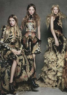 romanticnaturalism: 'New Order' - Lily Donaldson, Sasha Pivovarova and Patricia van der Vliet wear pieces from Sarah Burton's debut collection for Alexander McQueen photographed by Patrick Demarchelier for the January 2011 issue of American Vogue Foto Fashion, Trendy Fashion, Fashion Art, Spring Fashion, High Fashion, Fashion Show, Fashion Design, Baroque Fashion, Dress Fashion