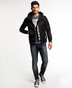 Superdry Black Flite Lite Jacket - Men's Jackets Street Fashion Tumblr, Bungee Cord, Superdry Mens, Black Edition, Men's Jackets, Joggers, Underwear, Polo Shirt, Bomber Jacket