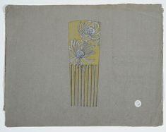 Gustav Gaudernack. Design of haircomb in bone with enamel on silver flower decorations. Typical art nouveau design. 1906-1907