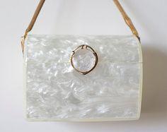 VIntage WILARDY Lucite Purse Handbag White Pearl 1950's Rockabilly VLV Mad Men