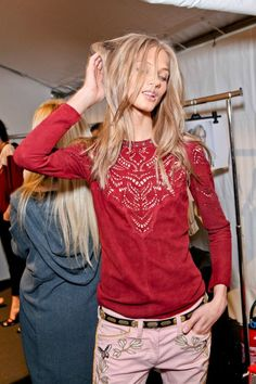 Anna S backstage at Isabel Marant Fall 12, Paris Fashion Week