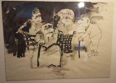 Large Tom Egerman Original Ink Wash Painting Minnesota Satire News Cartoon Art
