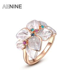 AENINE Exquisite rose gold colorful flower ring plated with AAA zircon fashion jewelry for women best Christmas gifts 2010228290