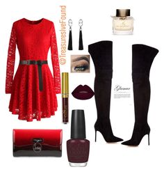 """""""#Red #Sexy #DateNight #GirlsNight #Cali #Vegas #Hollywood #LA #NewYork"""" by treasures-ive-found on Polyvore featuring Chicwish, Gianvito Rossi, Christian Louboutin, Kilian, OPI and Burberry"""