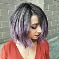 TITANIUM LAVENDER • doesn't get better than Grey and Purple! I used @schwarzkopfusa SILVER/WHITES for her base and purple. @@brazilianbondbuilder #b3 added to my Lightner and color formula  #BESCENE