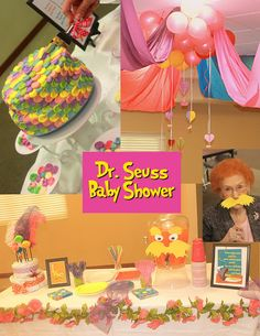 """Here is the Dr. Seuss """"Oh, the Places You'll Go"""" baby shower (with some Lorax and Cat in the Hat sprinkled in) for my sister recently.  It turned out cute! :)"""