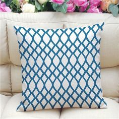 Find LOWEST PRICE Online HERE:https://www.rousetheroom.com/products/geometric-pattern-accent-cushion-cover-teal-white Geometric Pattern Accent Cushion Cover, Blue/White